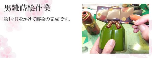 輪島塗 雛人形/ひな人形 男雛蒔絵作業
