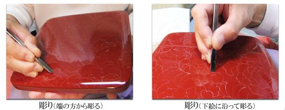 輪島塗 沈金彫詰シリーズ 彫り
